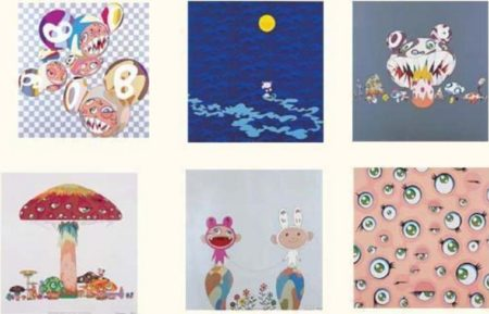 Takashi Murakami-Jelly Fish Eyes,Flower, Snow, Doves And Hawks, Mushroom Bomb Pink, Genki Ball, Dob Flower, Reversal D.n.a, And Then, Para-kiti Dob, Kamuchimaki, Red Rope, Kaikaikiki News, And Then, Moon, Hiropon, My Lonesome Cowboy, Here Come Media, A Master Mushroom With Dob DOB in the strange forrest, Into The Dream-2001