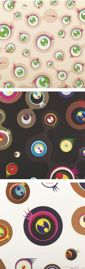 Takashi Murakami-Jellyfish Eyes-Cream, Jellyfish Eyes-Black 2, Jellyfish Eyes-White 1-2011