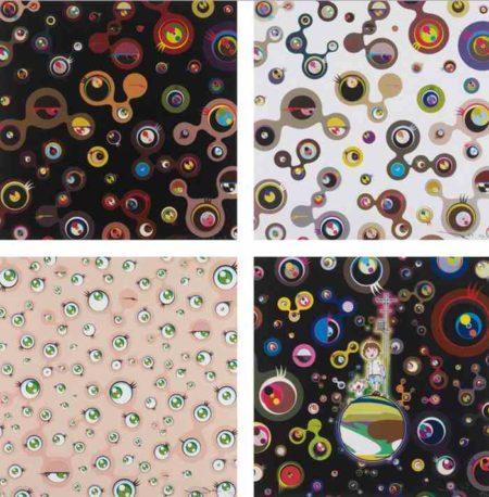 Takashi Murakami-Jellyfsh Eyes-Black 4, Jellyfsh Eyes-White 4, Jellyfsh Eyes, Jellyfsh Eyes-2013