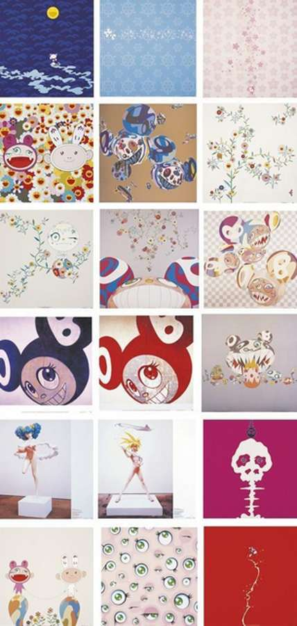 Takashi Murakami-Kamiuchmaki, Genki Ball, Kaikai Kiki News, Doves and Hawks, Moon, Snow, Flower, And then (Red and Blue), Red Rope; Jelly Fish Eyes, Reversal D.N.A., DOB Flower, Parakiti-DOB, Hiropon, My Lonesome Cowboy, Mushroom Bomb Pink, Here Comes Media, 2001.jpg-2001