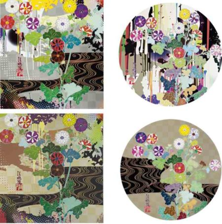 Takashi Murakami-Kansei Platinum, Kansei Gold, I Recall The Time When My Feet Lifted Off The Ground, Ever So Slightly-Korin-Chrysanthemum, Kansei Korin Gold-2009