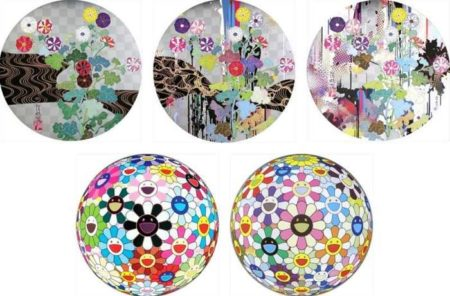 Takashi Murakami-Kansei (trade name of Rinpa-school Edo Painter Ogata Korin), Kansei-Like The Rivers Flow, Kansei-Abstraction, Flowerball Blood (3D) V, Flowerball Cosmos (3D)-2010