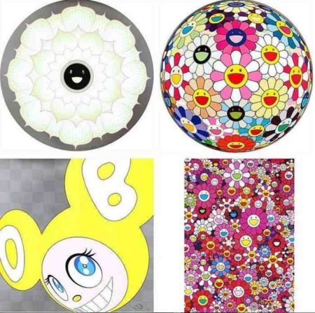 Takashi Murakami-Lotus Flower White, Flowerball Pink, And Then (Yellow), An Homage to Monopink 1960 B-2012