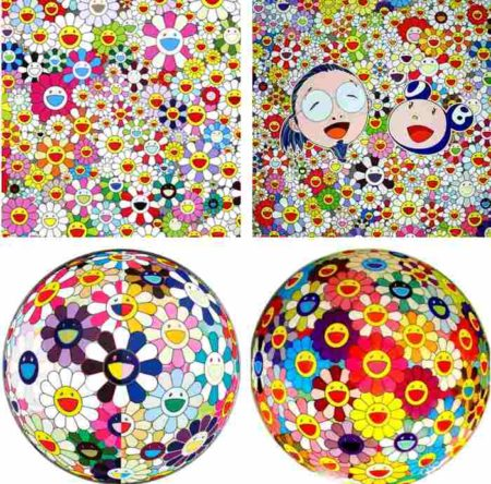 Takashi Murakami-Maiden in the Yellow Straw Hat, Me and Mr. DOB, Flowerball (3D) From the Realm of the Dead, Flowerball-2010