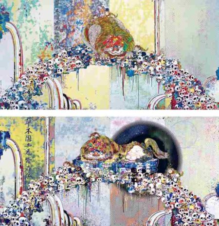 Takashi Murakami-Of Chinese Lions, Peonies, Skulls and Fountains; As the Inter-Dimensional Waves Run Through Me, ,I Can Distinguish Between The Voices Of Angel And Devil!-2012