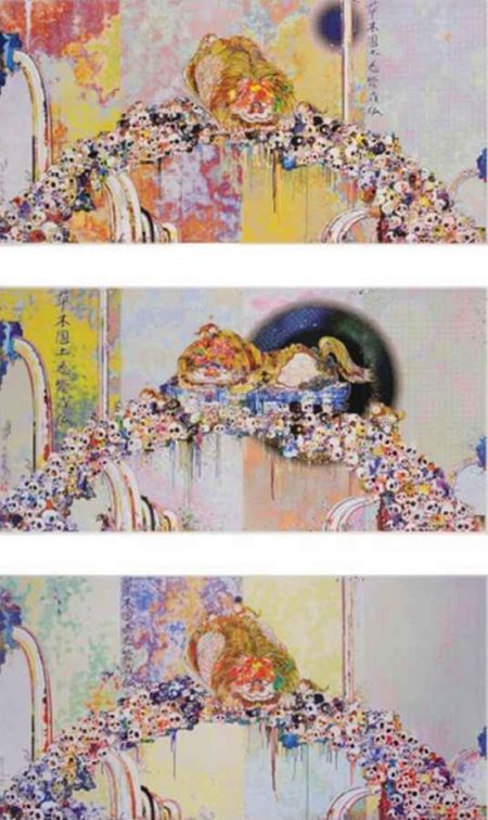 Takashi Murakami-Of Chinese Lions, Peonies, Skulls and Fountains, As the Inter-dimensional Waves Run Through Me..., A Picture of the Blessed Lion Who Stares at Death-2012