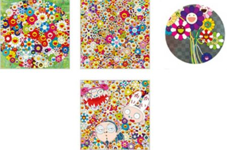 Takashi Murakami-Open Your Hand, Purple Flower Bouquet, Poporoke Forest, KaiKai Kiki and Me-2010