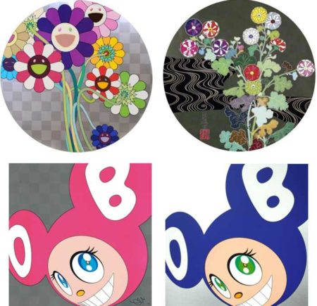 Takashi Murakami-Purple Flowers In a Bouquet, Kansei Korin Gold, And Then (Pink), And Then (Blue)-2010