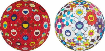 Takashi Murakami-Red Flower Ball (3-D); and Flower Ball (3-D) Sequoia simpervirens-2013