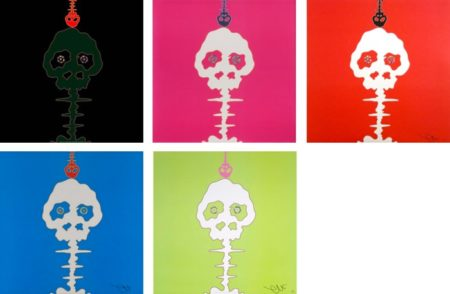 Takashi Murakami-Time Bokan-Black + Moss Green, Mushroom Bomb Pink, Red-Time, Time Bokan-Blue, Lime Green-Time-2011