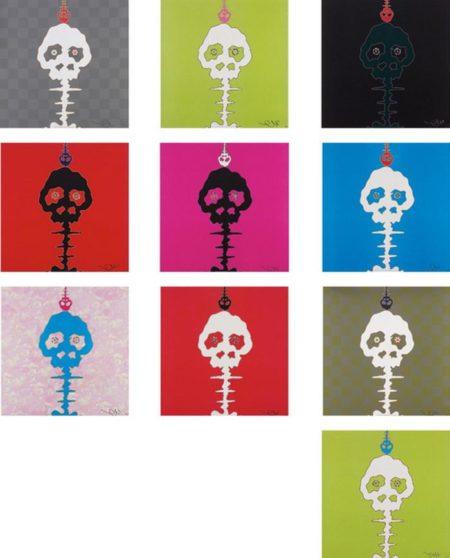 Takashi Murakami-Time Bokan (Camouflage Pink, Red, Black + moss green, Lime Green, Green, Pink, Red, Blue) Dokuro Yellow, Dokuro Silver-2011