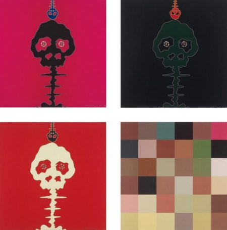 Takashi Murakami-Time Bokan-Pink, Time Bokan-Black & Moss Green, Time Bokan-Missing in the Eyes-Red, Acupuncture Painting-2006