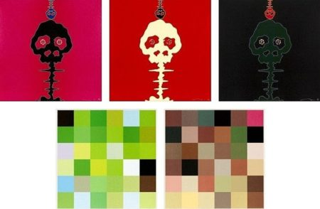 Takashi Murakami-Time Bokan-Pink, Time Bokan - Missing in the Eyes - Red, Time Bokan - Black + Moss Green, Acupuncture Painting Smell of Blood, Acupuncture Painting-2006