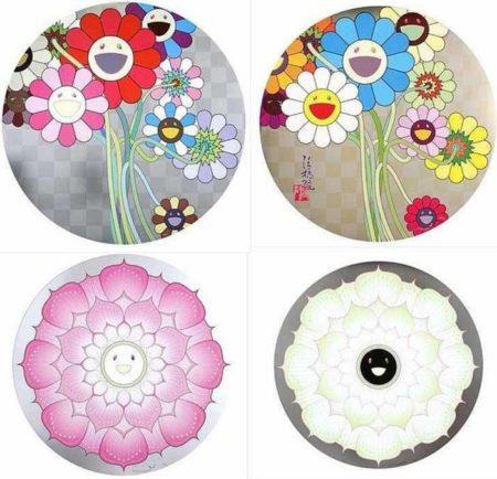 Takashi Murakami-Warhol-Silver, Flowers for Algernon, Lotus Flower (Pink), Lotus Flower (White)-2010