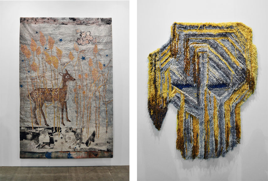 Left: Kiki Smith with Galleria Lorcan O'Neill Roma / Right: Caroline Achaintre - Brutus, 2016 with Monica de Cardenas