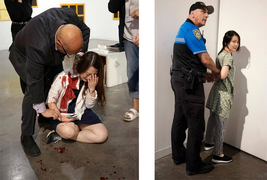 The woman who was stabbed and her alleged attacker at Art Basel Miami Beach. Courtesy Miami Herald