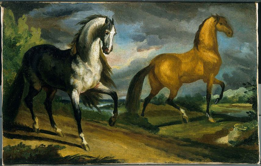 Like all the contemporary artists of that time, Theodore Gericault initialy focused on Neoclassicism, as evidenced by his work simply called Two Horses