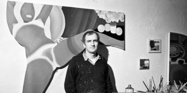 Tom Wesselmann - Photo in his work studio in his bedroom, March 1959 - Image via matisse and gettyimagescomau