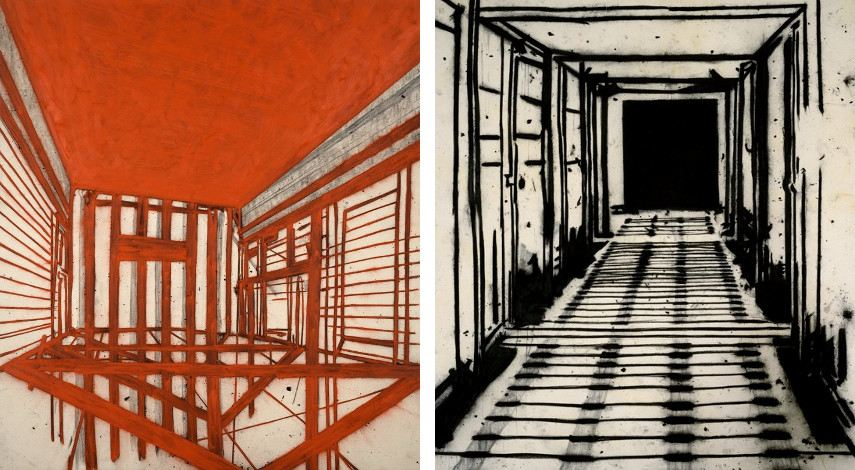 london london head paintings charcoal arts arts acrylic acrylic exhibitions work gallery gallery Tony Bevan - Red Ceiling, 1989 (Left), Corridor, 1996 (Right)