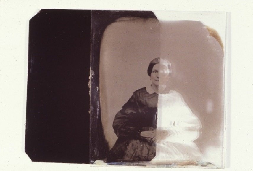 Unidentified woman on film , about 1860. Image via  film collections.musee-mccord.qc.ca