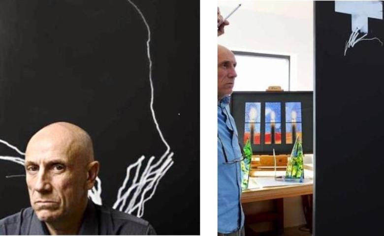 Left: Brian Clarke in 2010, (c) Gino Sprio/ Right: Brian Clarke in his studio, (c) Martin Booth