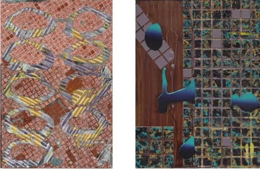 Left: Britton Tolliver- Skinfather, 2014, Acrylic on panel / Right: Britton Tolliver - Fingernails, 2014, Acrylic on panel