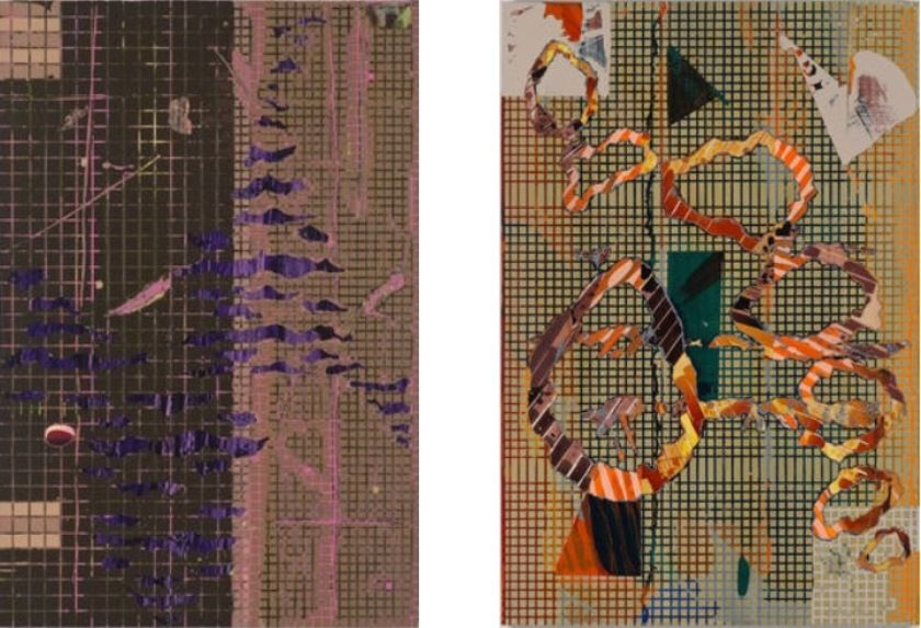 Left: Britton Tolliver - Railsplitter, 2014, Acrylic on panel / Right: Britton Tolliver - Stranded Smoke, 2014,  Acrylic on panel
