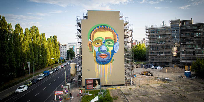 Various & Gould - Face Time mural, Berlin, 2014 (photo by Hans Friedrich)