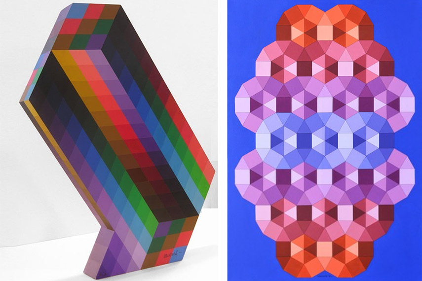 victor untitled  vasarely victor contact  victor graphic  abstract 1970 new untitled composition request sculpture Victor Vasarely - Torony II (Left) / Tizenne II, 1986 (Right) - images via pinterest.com