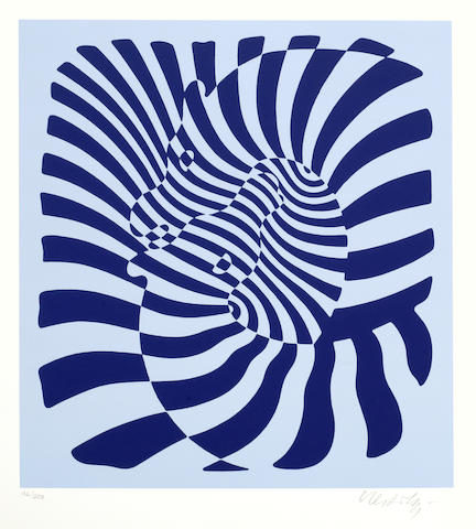 Victor Vasarely-Zebra Couple (Silver, Blue, Orange)-
