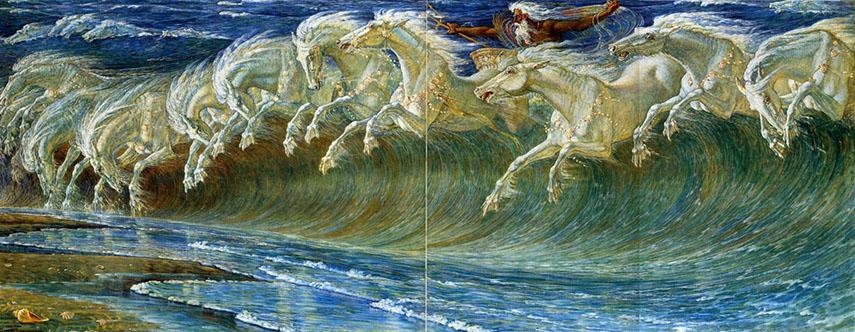 Walter Crane - Horses of Neptune (Tile Mural) - image via artaumonde.blogspot.com