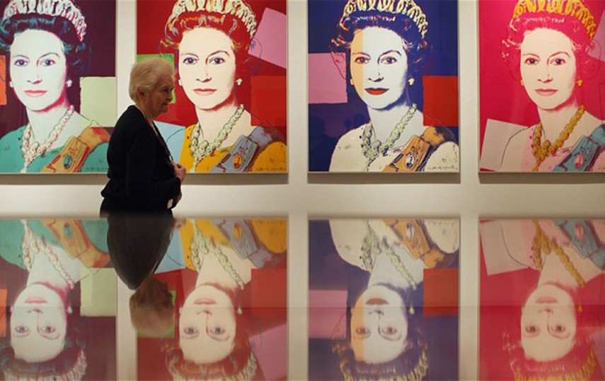 Warhol works similar to those in embassies on display in an exhibition at the National Portrait Gallery, London (Anthony Devlin / PA) Source: Telegraph UK