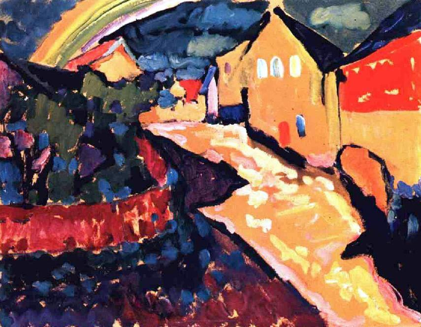 Wassily Kandinsky - Murnau with rainbow, 1909 - abstract blue work forms style painting works moscow paintings