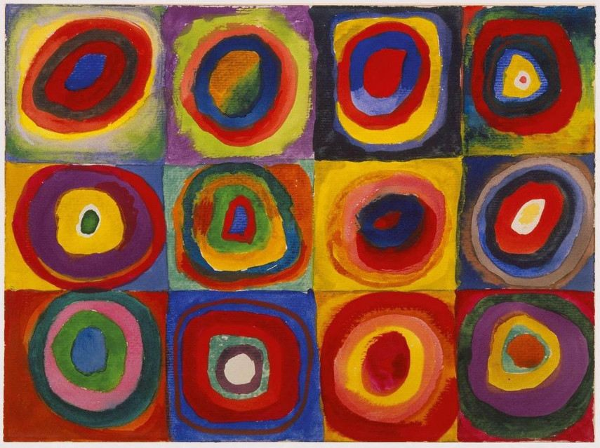 Wassily Kandinsky - Squares with Concentric Circles, 1913 - abstract blue work forms style painting works moscow paintings