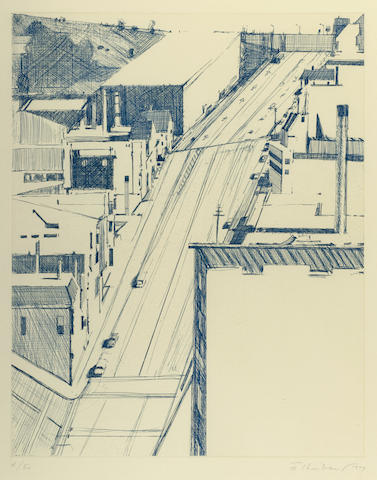 Wayne Thiebaud-Down 18th from Recent Etchings II-1979