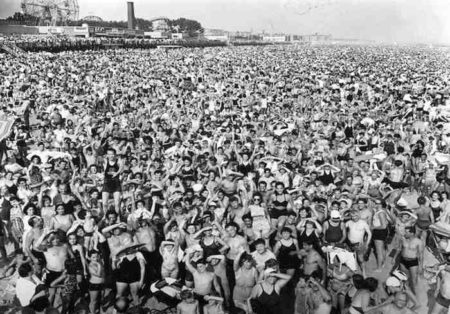 Weegee-Crowd at Coney Island, Temperature 89 degrees...They Came Early, and Stayed Late, July 22-1940