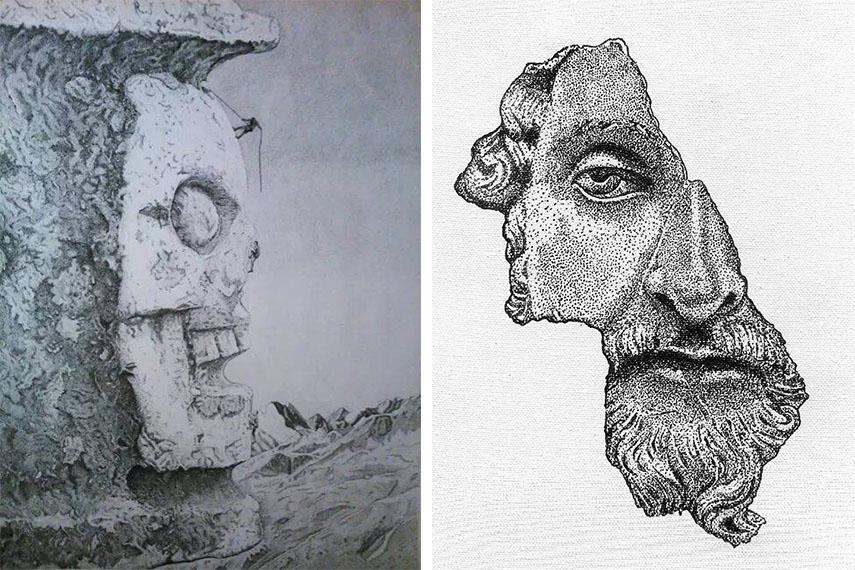 Werther Banfi - La Scalata, 2016 (Left) /  Untitled (Right)