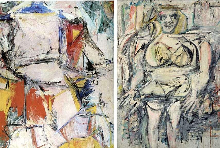 de Kooning - Interchange, 1951 ---- Woman III,1953 - Images via wikipediaorg and richandloadedcom