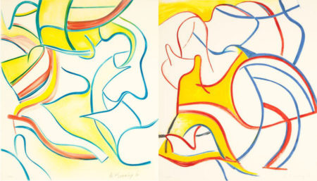 Willem de Kooning-Quatre Lithographies: Two Plates-1986