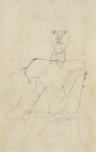 Willem de Kooning-Seated Male Figure-