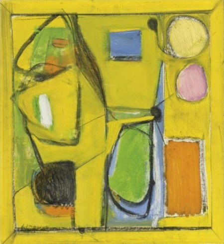Willem de Kooning-Untitled (Yellow Painting with Orange, Green, Black and Purple Shapes)-1942