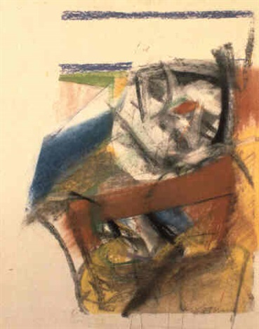 Willem de Kooning-Untitled (Abstract Drawing, Pastel on Paper)-1954
