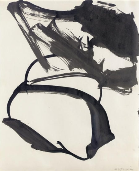 Willem de Kooning-Untitled (Abstract Indian Ink Drawing)-1958