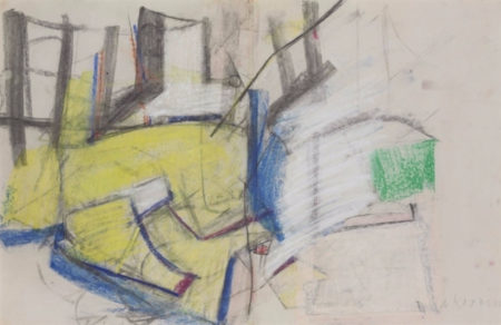 Willem de Kooning-Untitled (Yellow, White and Blue Abstract Drawing, Charcoal and Pastel)-1958