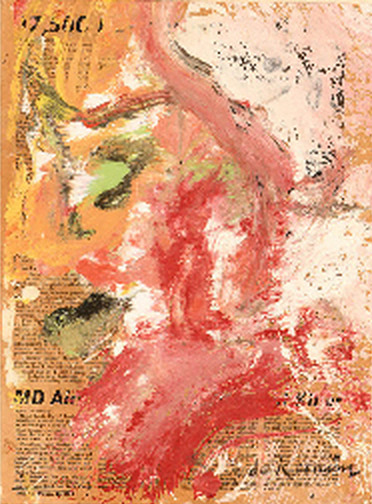 Willem de Kooning-Untitled (Red and White Abstract Painting on Newspaper)-1964