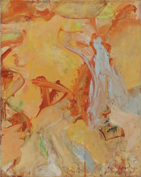 Willem de Kooning-Untitled (Orange, Brown and Light Blue Abstract Painting)-1965