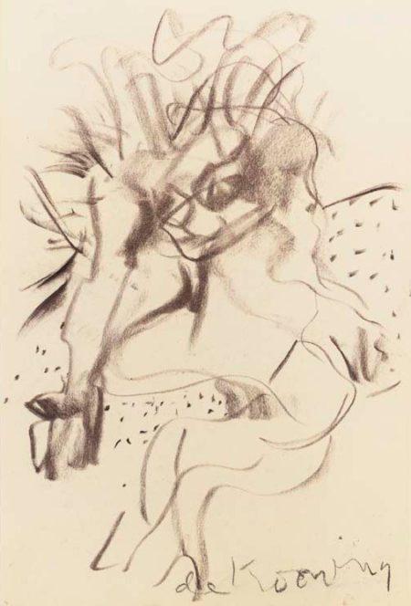 Willem de Kooning-Untitled (Figure Drawing, Charcoal on Vellum)-1966