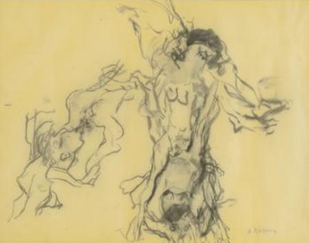 Willem de Kooning-Untitled (Figure Charcoal Drawing)-1966