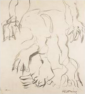 Willem de Kooning-Untitled (Feet and Arms Drawing)-1967