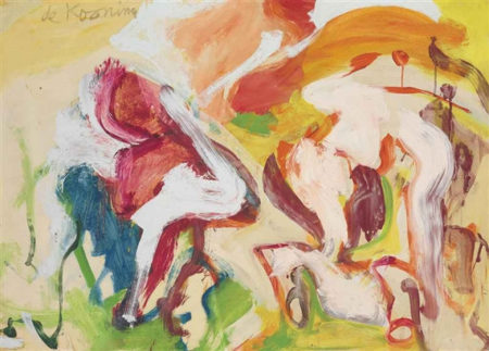Willem de Kooning-Untitled (Abstract Painting, Oil on Paper mounted on Canvas)-1968